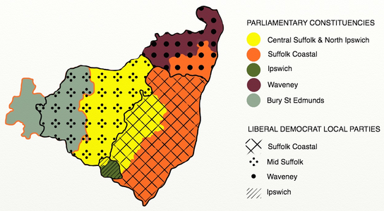 SCLD and neighbouring Lib Dem districts, overlaying parliamentary boundaries