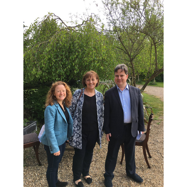 Suffolk Coastal parliamentary candidate James Sandbach with wife Julia McLean (left) and Baroness Ros Scott (centre)