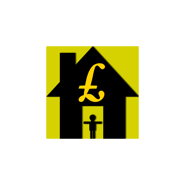 House with £ sign and person