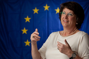 Catherine Bearder with EU Flag Background