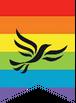 Lib Dem Badge in Rainbow Flag