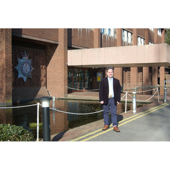 James Sandbach outside Suffolk Police HQ